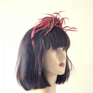Bordeaux headband with feathers