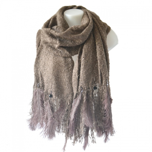 Large wedding or evening taupe shawl