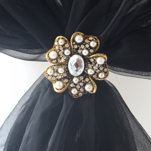 Foulard ring with rhiestone and pearls - gold out of stock - silver only