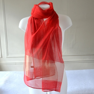 "Beautiful long scarf for weddings and evenings red and gold ""Mathilda"""
