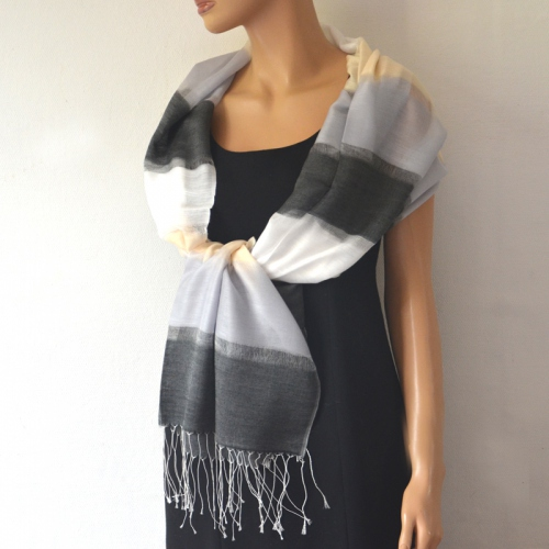 Large organza scarf with stripes for weddings or evenings