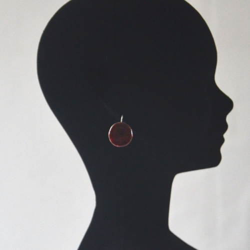 Round dark red bordeaux earrings