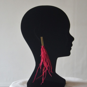 Red/fuchsia earrings with ostrich feathers