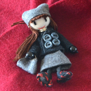 "Brooch ""doll"" grey, black and fuchsia wool"