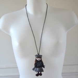 Long grey woolen doll necklace