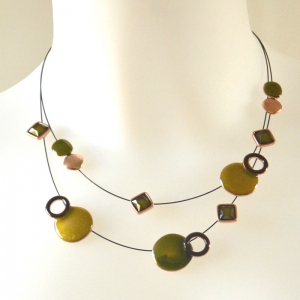 Necklace stars and planets anis green and copper
