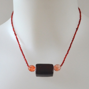 Necklace stone and beads orange red and brown