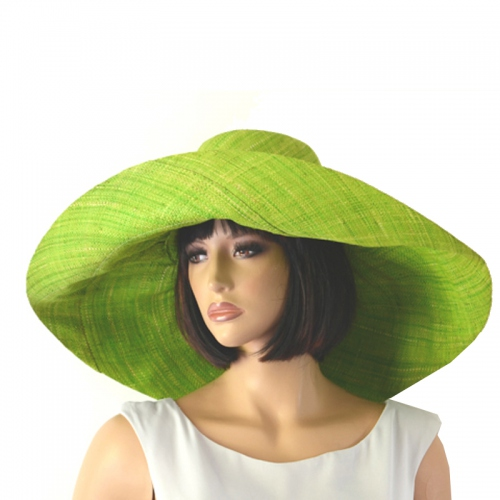 Anis green wide-brimmed beach or wedding hat