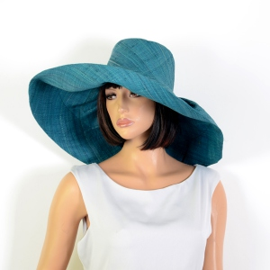 Duck blue wide-brimmed hat for the beach or for a wedding!