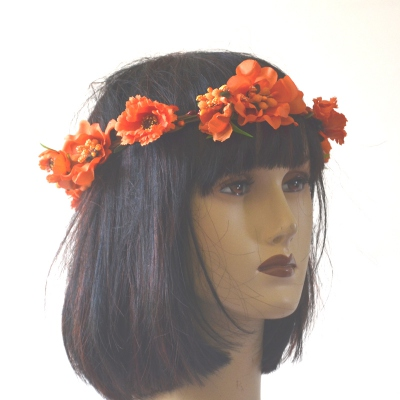 Orange poppy wedding crown