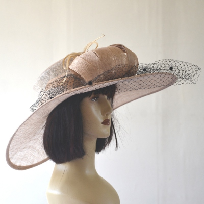 Beige sinamay wide-brimmed wedding hat