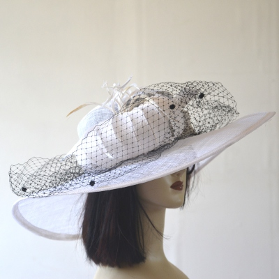 White wide-brimmed hat with black spotted veil