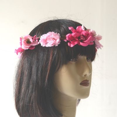 Pink and fushia flowers wedding crown