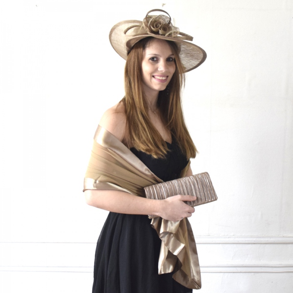 Camel matching wedding trio with hat, stole and bag