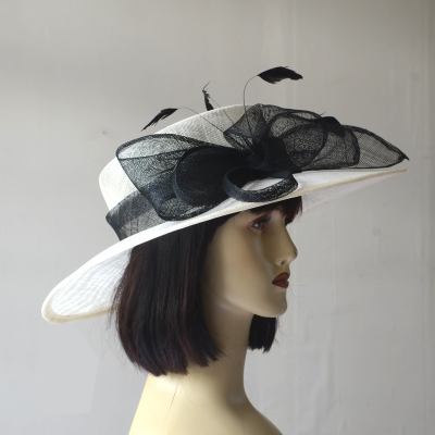Wide-brimmed black and white wedding hat for women
