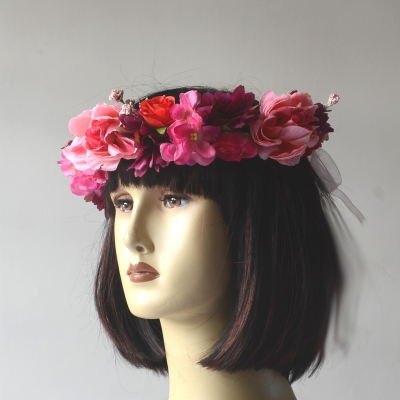 Pink and fushia flower crown with matching bracelet