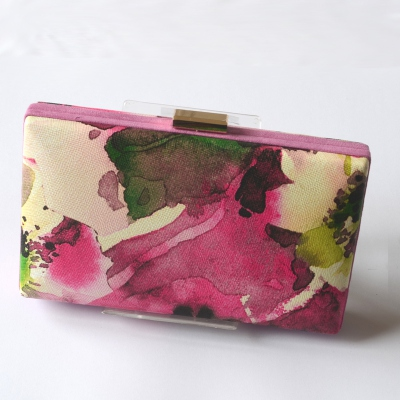Smart clutch - fabric with watercolour shading colours, mainly pink