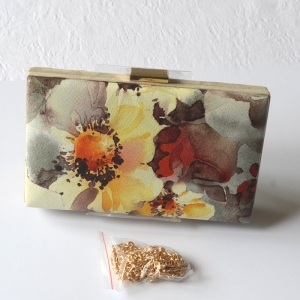 Box-shaped clutch for evenings, weddings or parties. Watercolour print with plants