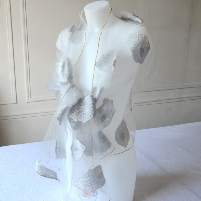Light grey wedding, evening silk and viscose organza stole with grey paisley embroidery