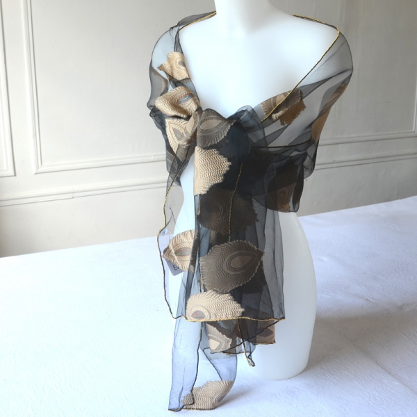Very fine black silk and viscose organza stole with golden beige embroidery and golden border