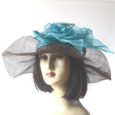 Brown wedding hat and turquoise headband - can be worn separately