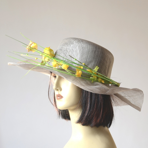 Pearl grey wedding hat with yellow birds