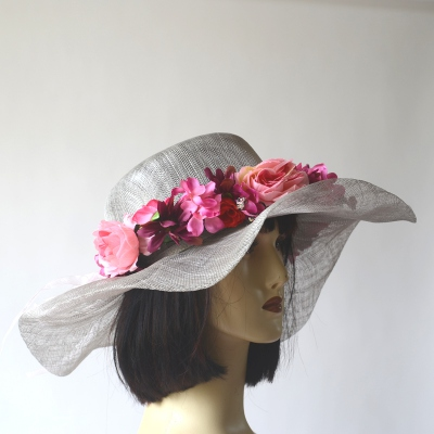 Grey wedding hat with independant fushia headband