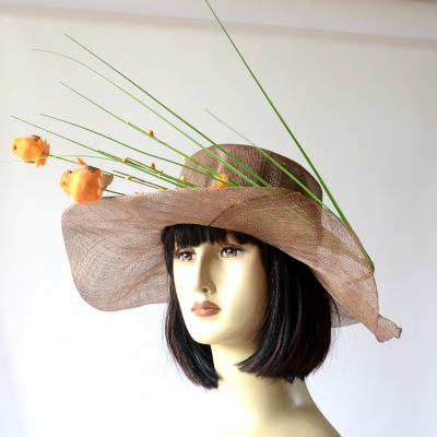 Little orange birds and grasses on a light brown wedding hat : original