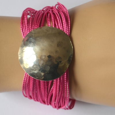 Bracelet with silvery sphere and twisted satin threads - 6 colours