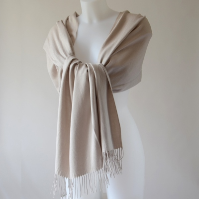Beige cashmere long scarf for weddings or more casual occasions