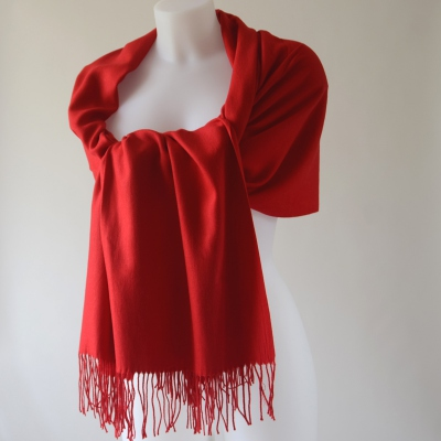 Large cashmere, wool and viscose red shawl for weddings, evenings or every day life