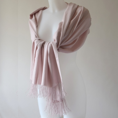 Cashmere, wool and viscose shawl - very pale dust/powdery pink