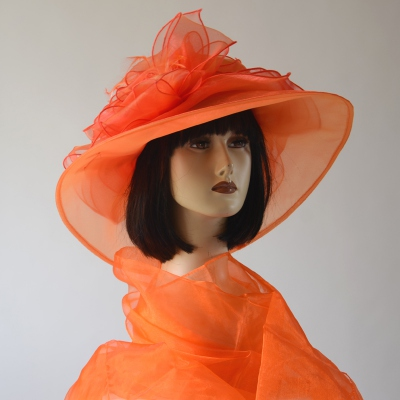Bright orange wedding hat and stole