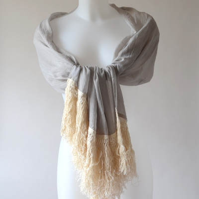 Long and large grey and ivory shawl
