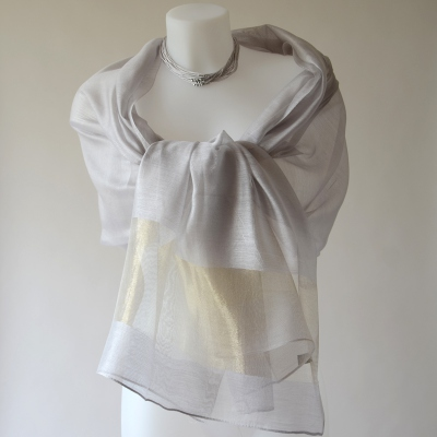 Very chic grey and gold wedding stole with silk organza and viscose