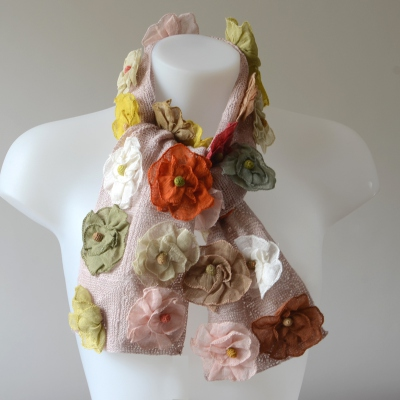 Sophie Digard creations - light pink and pastel scarf - 100 % linen