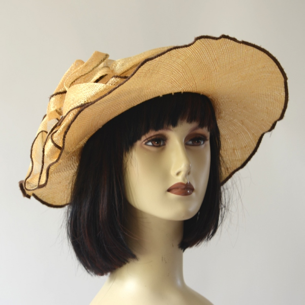 Straw and sinamay wedding hat