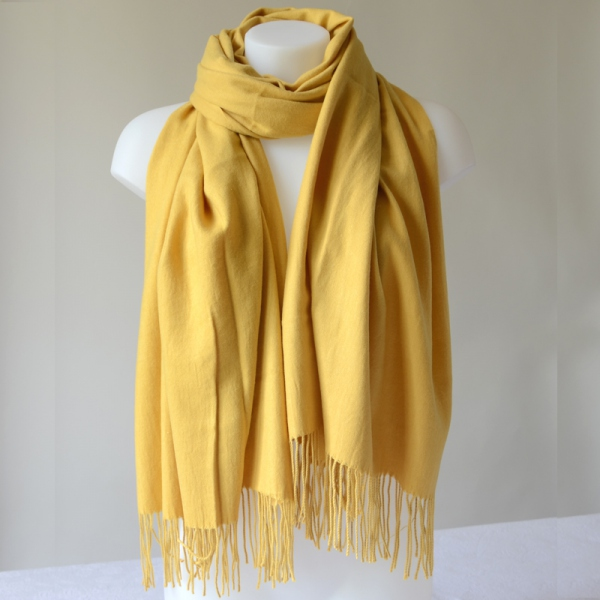 Stole, shawl or plaid - mustard yellow cashmere, wool and viscose