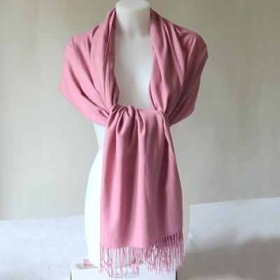 Stole, shawl, plaid - old pink cashmere, wool and viscose