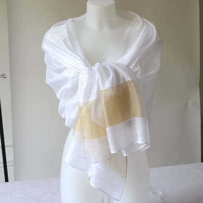 White, gold and silver wedding stole - silk and viscose