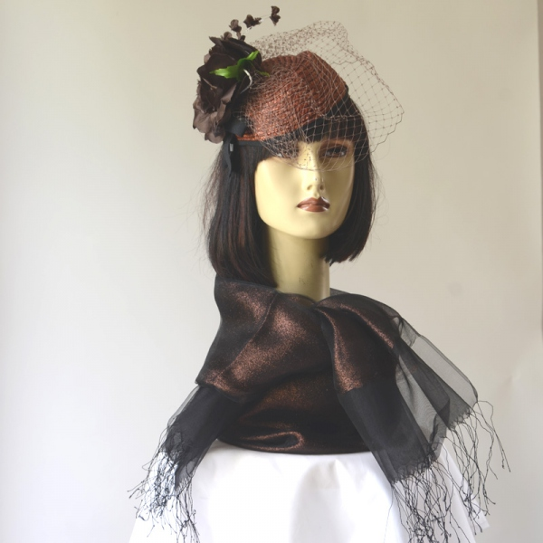Matching duo copper/brown fascinator and stole