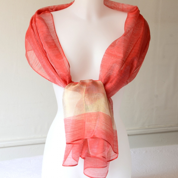 Wedding, cocktail, evening stole - coral red and gold silk organza and viscose