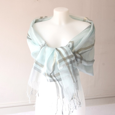 Very light turquoise stole with silver and golden threads - organza veil