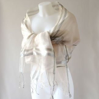 Wedding stole - silk organza, 3 colours - Beige out of stock