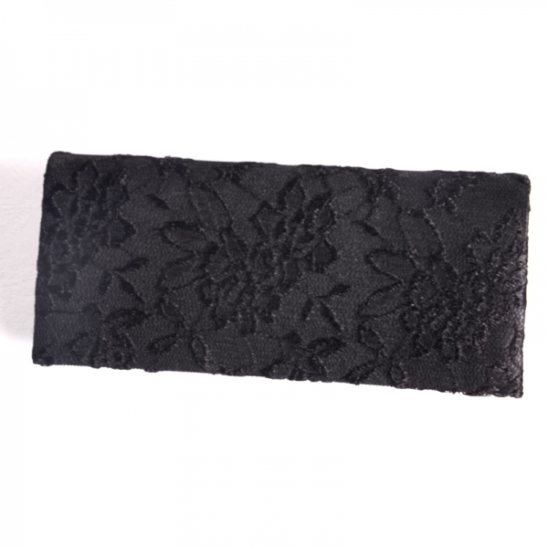 Black satin evening bag with laces