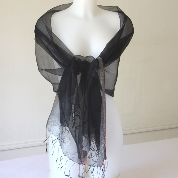 Very fine black and silver long foulard for weddings or evenings