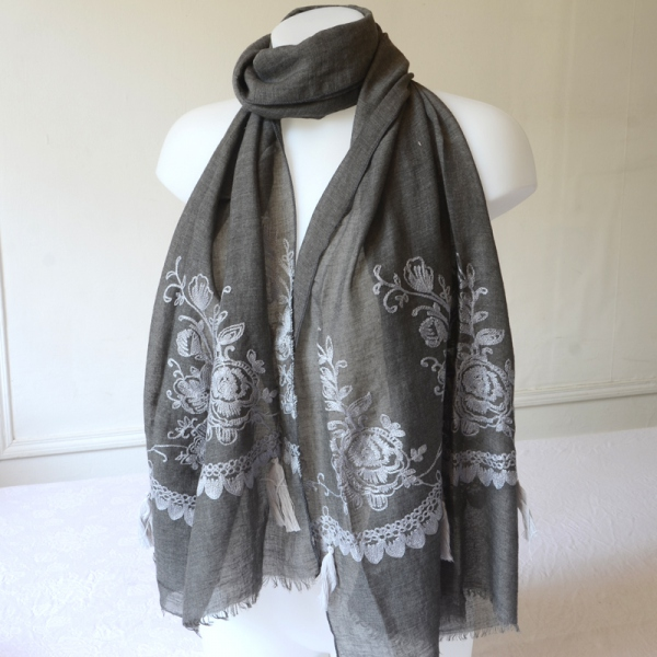 Long dark grey shawl with paler grey embroideries