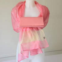 Lovely matching light coral pink and gold duo accessories for weddings, evenings...