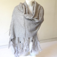 Long warm soft grey shawl with oistrich feathers and black pearls