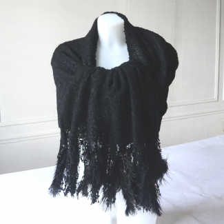 Black stole, wrap, shawl with oistrich feathers and beads